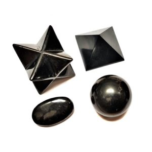 Shungite Polished Sculptures and Spheres from Russia