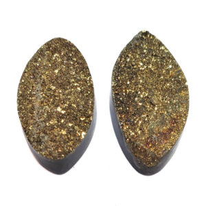 Cab474 - Rainbow Pyrite Cabochon Pair