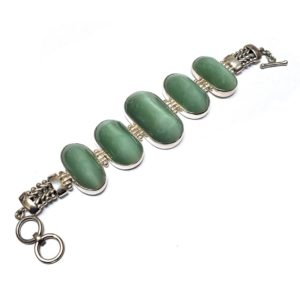 Cat's Eye Jade Bracelets in Sterling Silver
