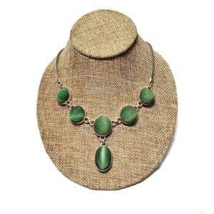 Cat's Eye Jade Necklaces in Sterling Silver