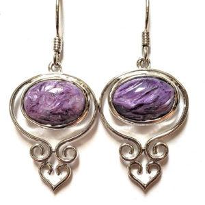 Charoite Wire Earrings 8