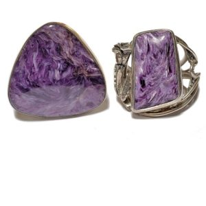 Charoite Rings in Sterling Silver