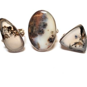 Dendritic Agate Rings in Sterling Silver