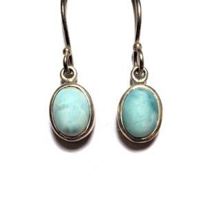Larimar Wire Earrings in Sterling Silver