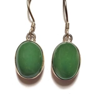 Nephrite Jade Wire Earrings 1