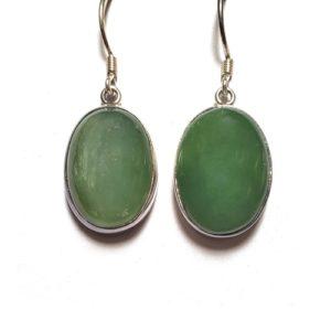 Nephrite Jade Wire Earrings in Sterling Silver