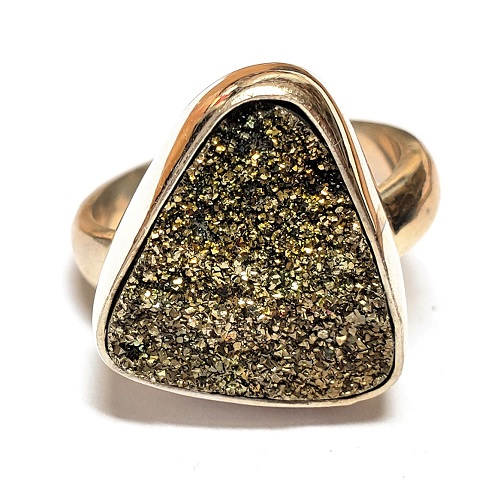 Rainbow Pyrite Ring in Sterling Silver 10