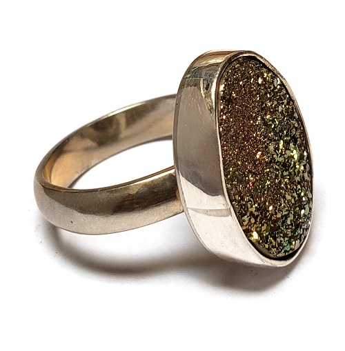 Rainbow Pyrite Ring in Sterling Silver 11