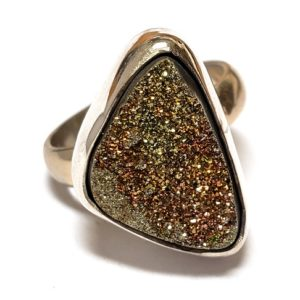Rainbow Pyrite Ring in Sterling Silver 12