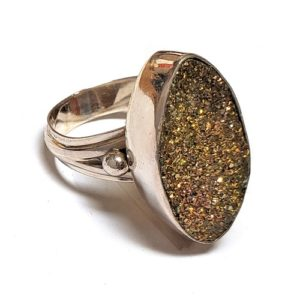 Rainbow Pyrite Ring in Sterling Silver 13
