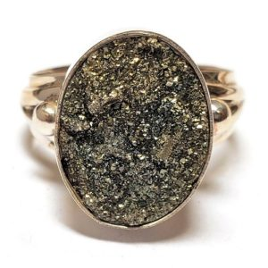 Rainbow Pyrite Ring in Sterling Silver 14
