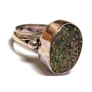Rainbow Pyrite Ring in Sterling Silver 3