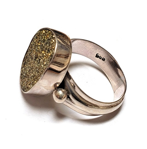 Rainbow Pyrite Ring in Sterling Silver 4
