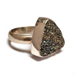 Rainbow Pyrite Ring in Sterling Silver 6