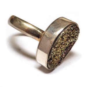 Rainbow Pyrite Ring in Sterling Silver 9