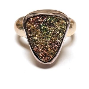 Rainbow Pyrite Rings in Sterling Silver