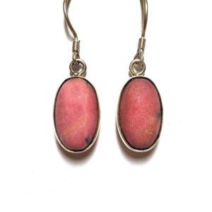Rhodonite Wire Earrings in Sterling Silver