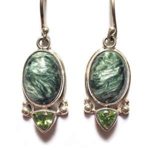 Seraphinite Earrings with Peridot 22
