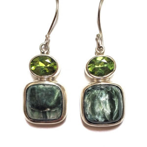 Seraphinite Earrings with Peridot 24