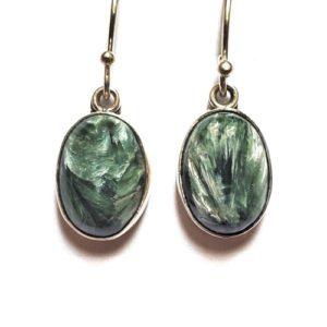 Seraphinite Wire Earrings in Sterling Silver