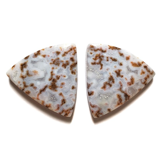 Cab2842 - Calico Lace Agate Cabochon Pair