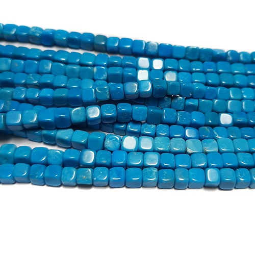 Stabilized Turquoise 4mm Cube Beads