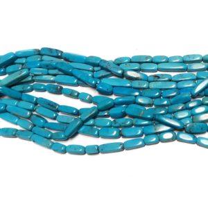 Stabilized Turquoise Square Tube Shaped Beads