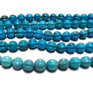 Stabilized Turquoise 10mm Round w/Fluting Beads