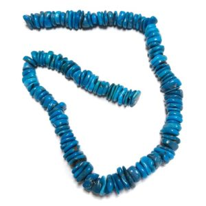 Stabilized Turquoise Irregular Disc Beads #48