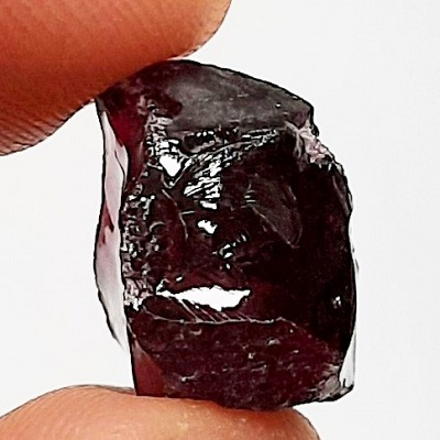 Dark Brazilian Garnet faceting rough #13